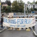Die Demonstrierenden fordern barrierefreie Bildung für alle. (KEYSTONE)