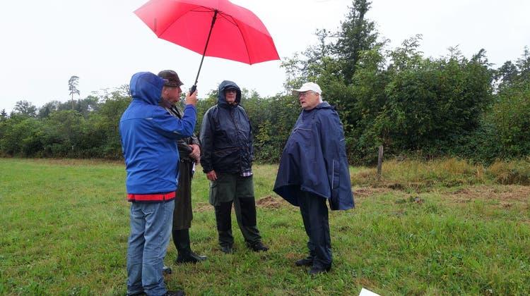 Theo Sonderegger (r.) informiert über den Flächenhieb Uelbach/Homberg. Der einzelne Baum zeigt, wie gross der Wald vor dem Hieb war. (Dieter Minder)