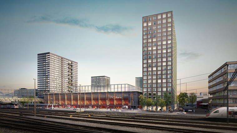 Vier Türme sind beim künftigen FC-Aarau-Stadion im Torfeld Süd geplant. (HRS Real EstateAG/ zur Verfügung gestellt)