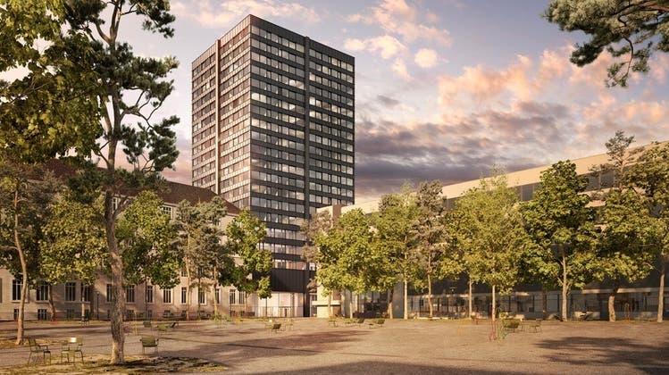 So wird das Hochhaus aussehen. 2023 sollen die Wohnungen und Geschäftsräume bezogen werden. (Zvg)