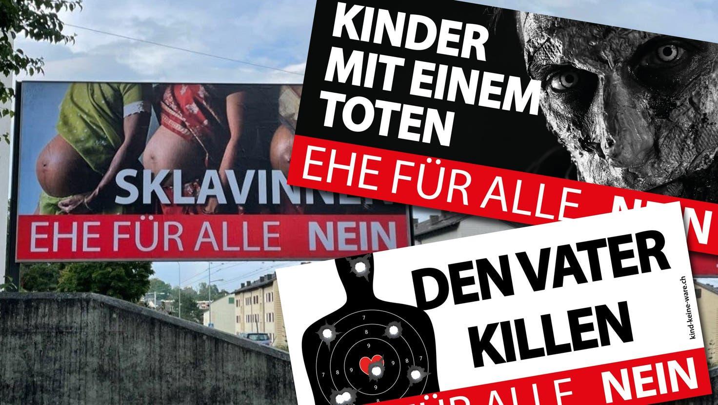 Ein zerrissenes Nein-Plakat der Gegner der «Ehe für alle». (Anthony Anex)