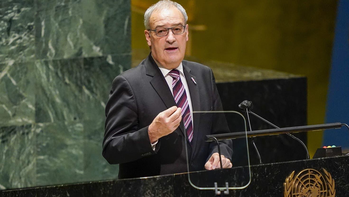 Der Schweizer Bundespräsident Guy Parmelinwährend seiner Rede an der jährlichen Generaldebatte der UNO in New York. (Mary Altaffer / Pool / EPA)
