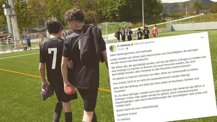 Mit dieser Nachricht macht der FC Aarburg auf das dreiste Vorgehen aufmerksam. (Screenshot Facebook)