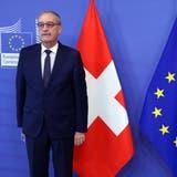 Quo vadis Schweiz? Das möchten sie in Brüssel gerne wissen. Bild: Bundespräsident Guy Parmelinbei Kommissions-Chefin Ursula von der Leyen. (Keystone)