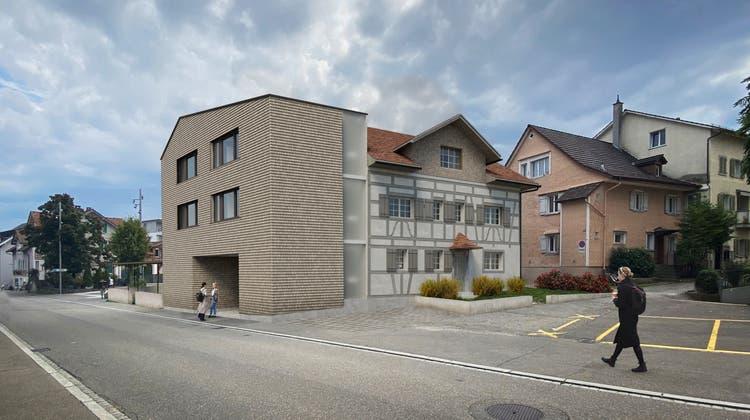 So soll das Gmünderhaus dereinst aussehen: neuer Anbau zur Strasse hin. Dahinter das sanierte Gebäude. (Visualisierung: PD)