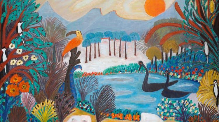 Das Paradies? «Verzauberung» nannte die Luzernerin Josephine Troller das Gemälde 1970 mit ihrer Vorstellung von perfekter, friedlicher Natur. Öl auf Leinwand, 65 x 100 cm. (Bild: Kunstmuseum Luzern)