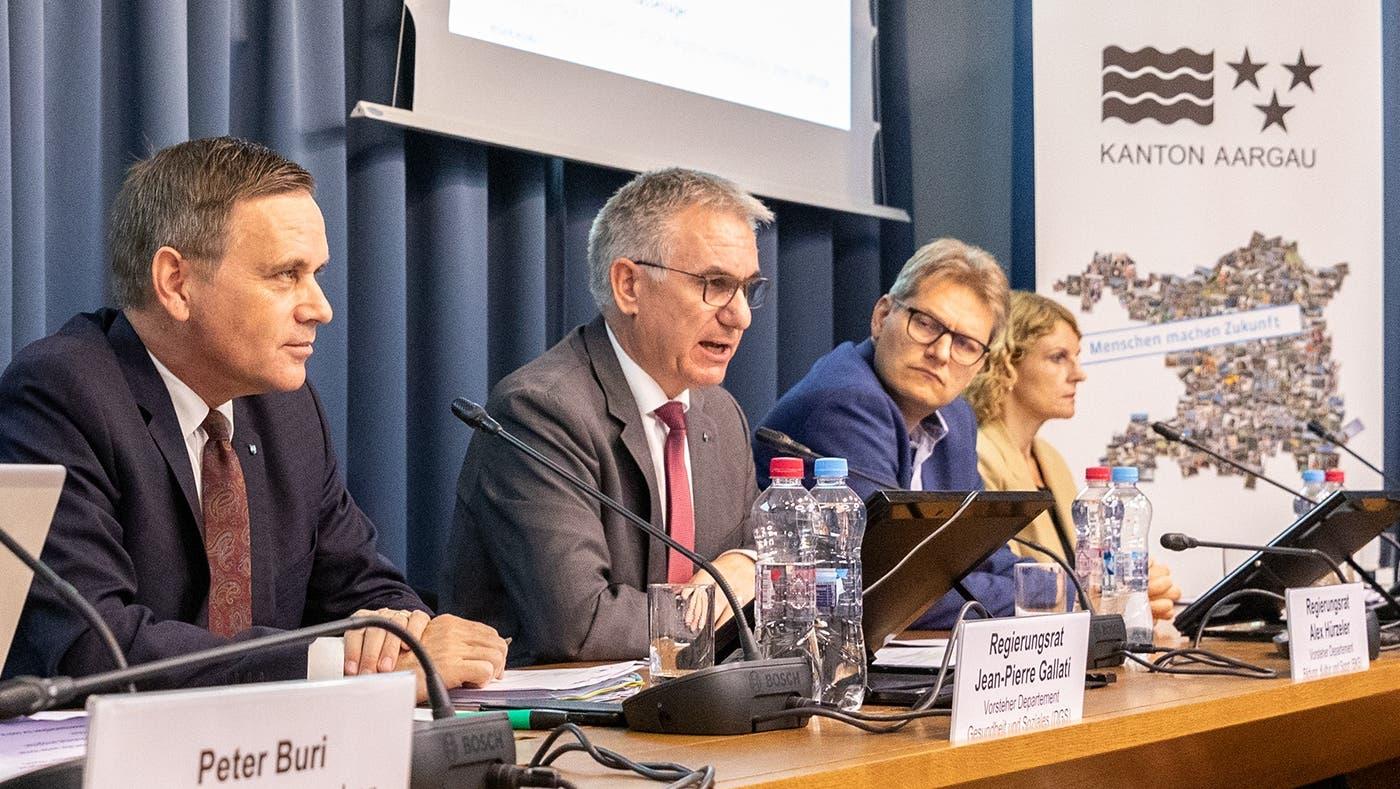 Medienkonferenz des Regierungsrates vom 23.9.2021 zum Stand der Pandemie im Aargau. (Valentin Hehli / ARG)