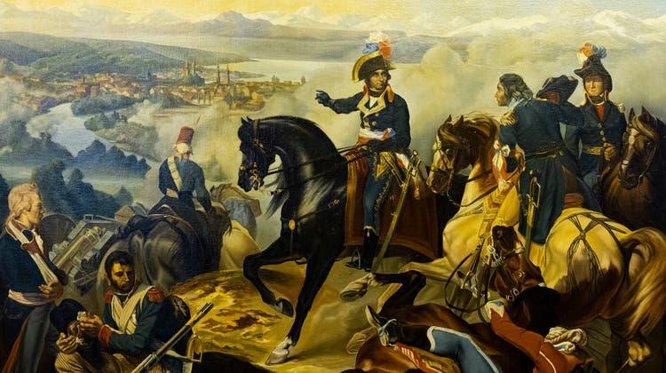 Das Gemälde «2e Bataille de Zurich gangnée par le Général Masséna le 25 septembre 1799 » ist das Herzstück der Ausstellung. Die Familie von alt Stadtschreiber Eduard Gibel hat es dem Ortsmuseum Dietikon vermacht. (Severin Bigler / © CH Media)