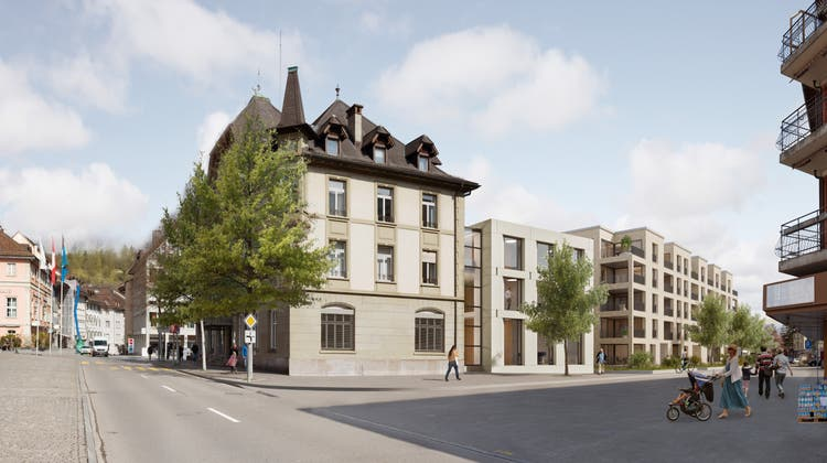 Auf dem Areal «Alte Post» ist – wie auf dieser Visualisierung zu sehen – eine Überbauung mit einer zentralen Stadtverwaltung geplant. (zvg/Hornberger Architekten AG)