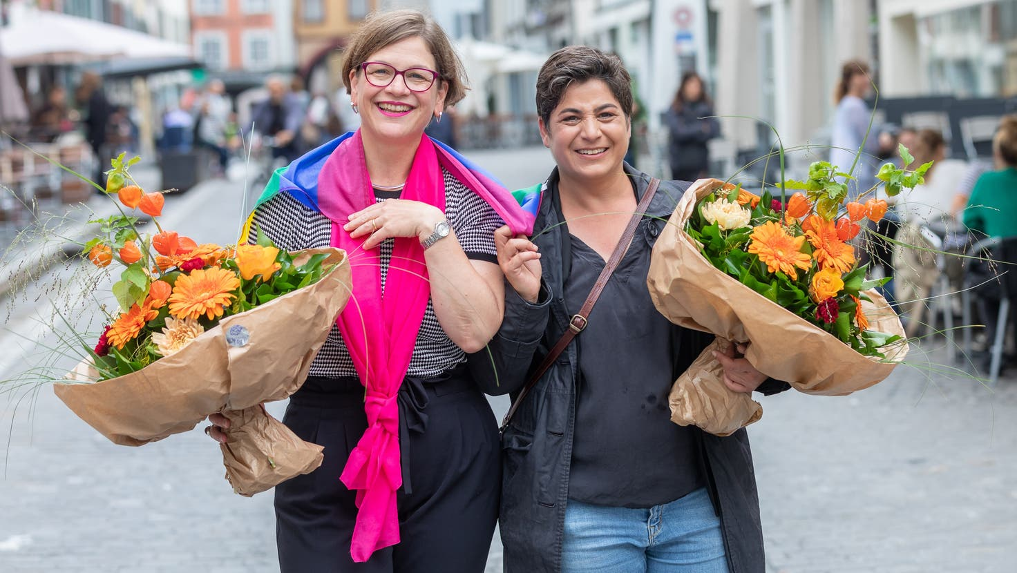 So sehen glückliche Politikerinnen aus: Franziska Graf-Bruppacher und Silvia dell'Aquila in Aarau. (Fabio Baranzini)