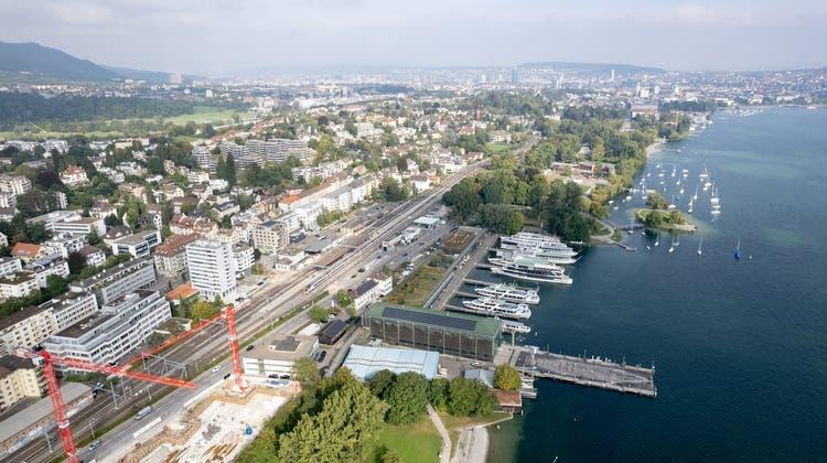 Die Baustelle beim Seeufer in Zürich Wollishofen war Stein des Anstosses für die nun abgelehnte Besonnungsinitiative. (Valentin Hehli)