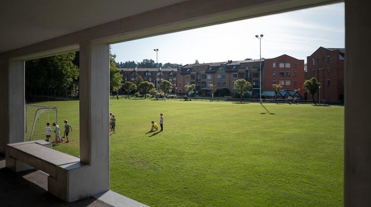 Blick auf die Sportwiese, in der Ecke ganz links ist der Neubau geplant. (Bild: Michel Canonica)
