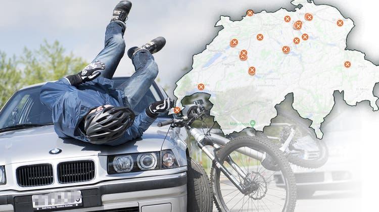 Unfälle mit Beteiligung einer Velofahrerin oder eines Velofahrers nehmen zu. (Bild: Jean-Christophe Bott/Keystone)