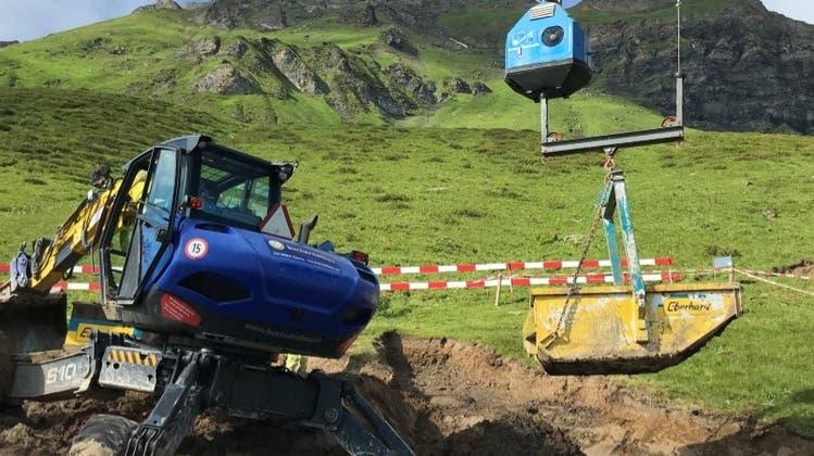 Für den Abtransport wurde eine Materialseilbahn eingerichtet. (Bild: PD)
