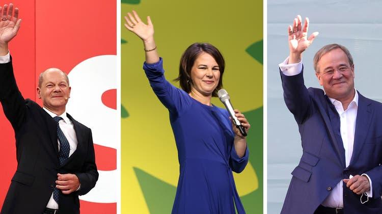 Olaf Scholz, Annalena Baerbock, Armin Laschet und Christian Lindner (von links nach rechts): Die politische Mitte wurde bei der Wahl gestärkt, die Ränder geschwächt. (Various / EPA)