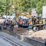Rolf H. Meier, Kantonsingenieur und Stadtrat Philippe Ramseier freuen sich, dass es endlich losgeht mit den Bauarbeiten. (Sandra Ardizzone)