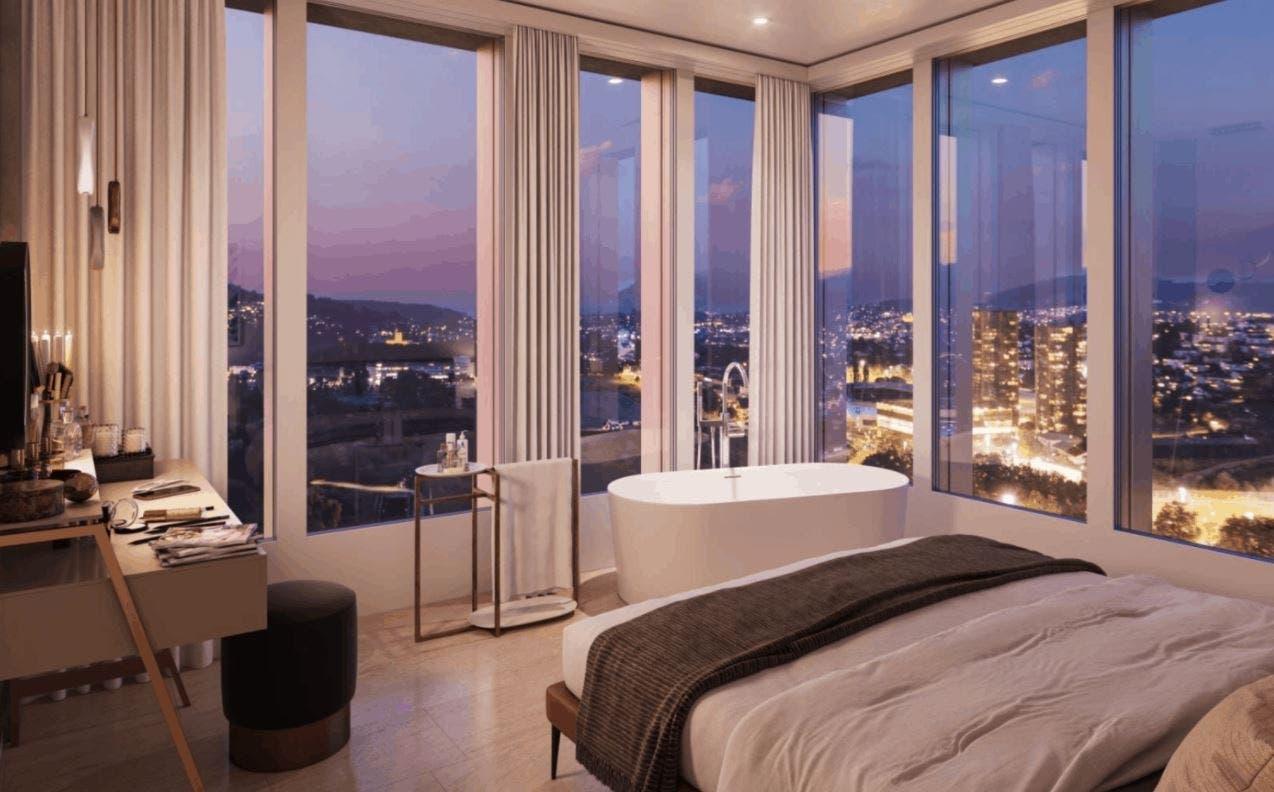Und hier das Schlafzimmer einer Wohnung im Sky-Level-Standard.