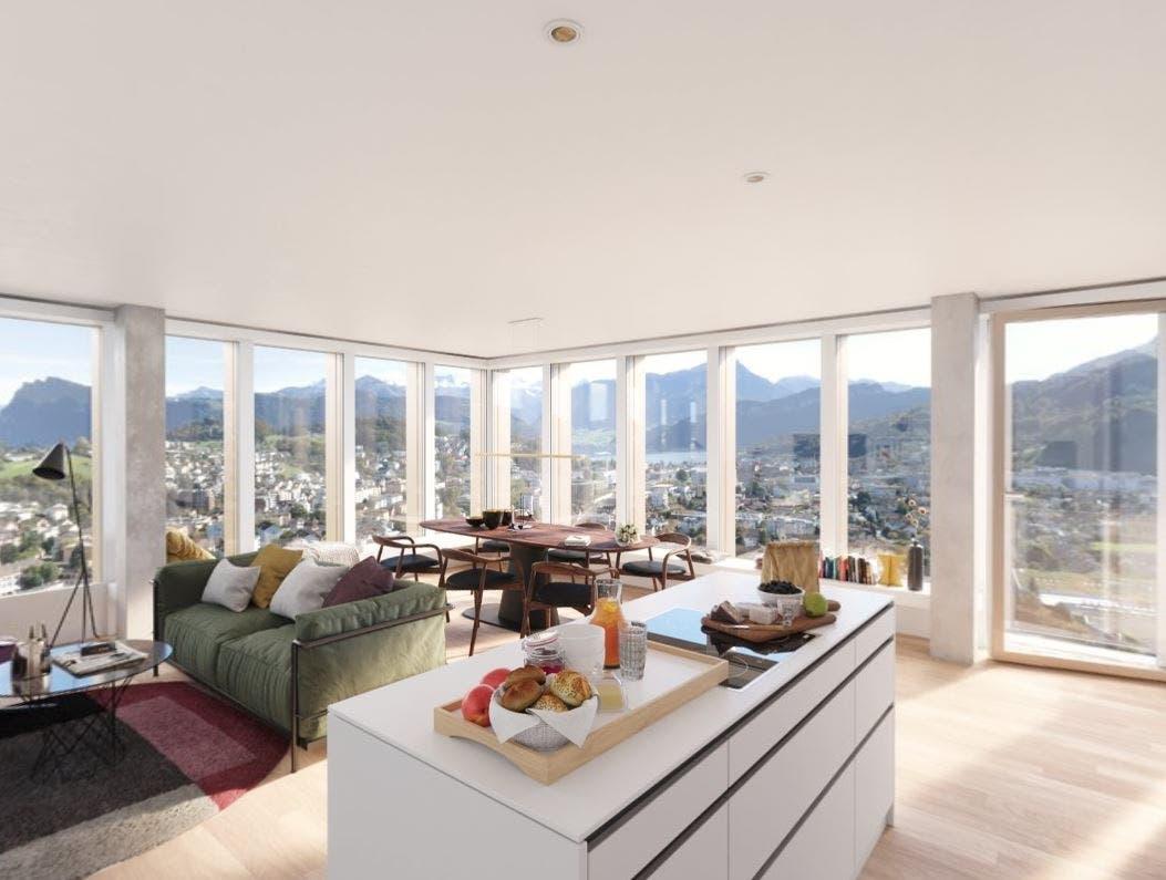 So soll der Wohnraum einer Wohnung im Top-Level-Standard aussehen.