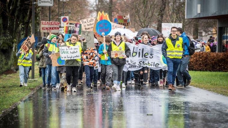 Engagierte Menschen schliessen sich zusammen und demonstrieren für mehr Klimaschutz. (Andrea Stalder(Frauenfeld, 15. März 2019))