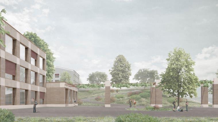 So sahen die ersten Visualisierungen des Schulhauses «Jim Knopf» aus. Mittlerweile wurde das Projekt angepasst – aus zwei Kuben wurde einer. (Visualisierung: zvg)
