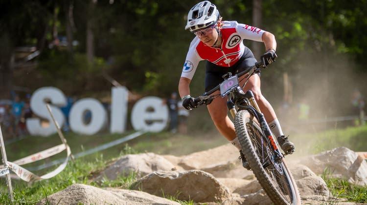 Die SennwalderinNicoleGöldi, Weltmeisterin mit dem E-Mountainbike. (Bild: Merlin Muth)