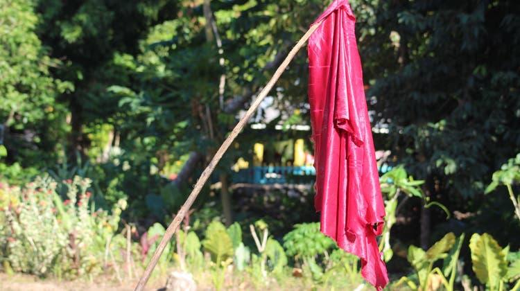Rote Fahnen im Garten der Samoaner signalisieren: Bitte impft mich! (Government of Samoa)
