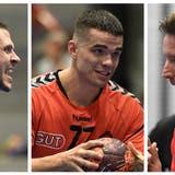 Können Dario Ferrante (links, Handball Endingen), Jonathan Ulmer (Mitte, TV Möhlin) und «Städtli»-Coach Björn Navarineine erfolgreiche Saison feiern? (Alexander Wagner)