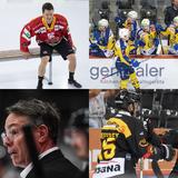 Wie schlagen sich Biel mit Neuzugang Gaëtan Haas (links oben), der HC Davos (rechts oben), Tristan Scherwey und Simon Moser mit dem SCB (rechts unten) und Lugano mit Neo-Trainer Chris McSorley (links unten) in der neuen Saison? (Keystone / CH Media)