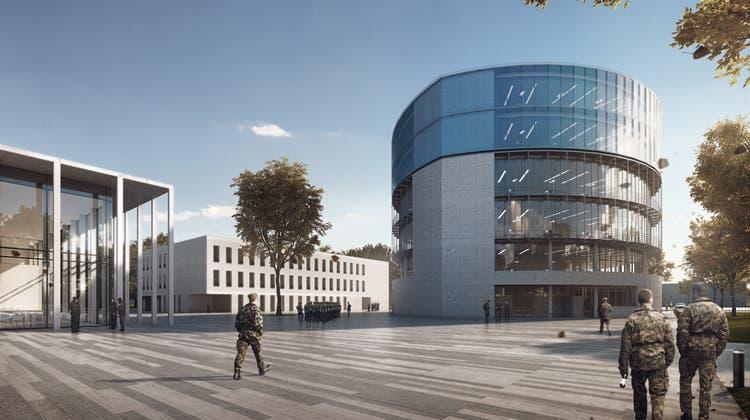 Die Visualisierung zeigt den geplanten Neubau des Retablierungsgebäudes auf dem Gelände der Kaserne Auenfeld. (Bild: PD)