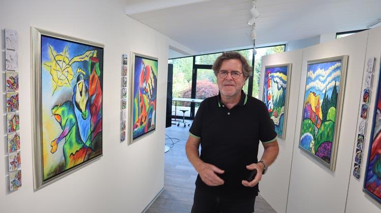 Heinz Marzohl hängt so an seinen Bildern, dass er keines im Original verkauft. Bild: Peter Weingartner (Peter Weingartner / Aargauer Zeitung)