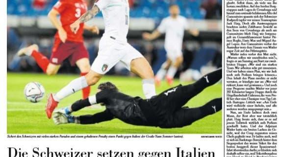 Ein Ausrufezeichen: Für die NZZ war der gehaltene Penalty von Yann Sommer die wichtigste Szene. (NZZ)