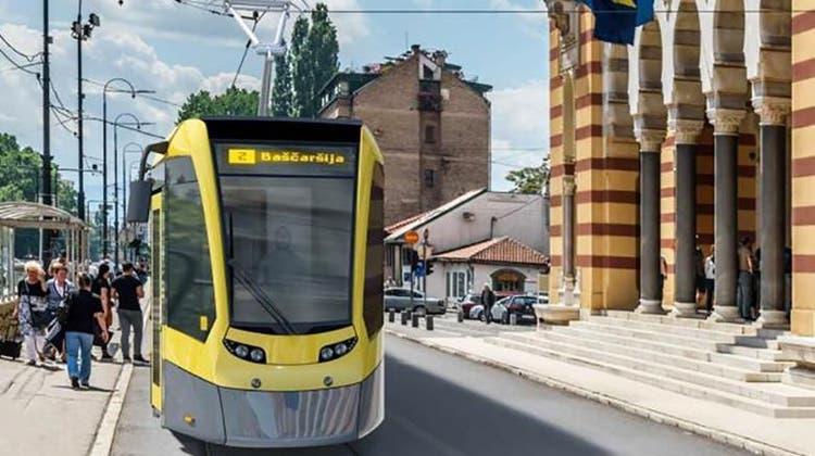 Visualisierung des neuen Stadler-Trams für Sarajevo. (Bild: PD)