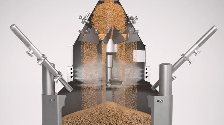 Visualisierung der Befeuchtung der Getreidekörner in derSwisca-Anlage. (Bild: PD)