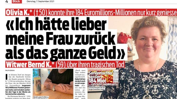 Über den frühen Tod der Aargauer Lotto-Millionärin berichtet am Dienstag der «Blick». (Screenshot «Blick»)