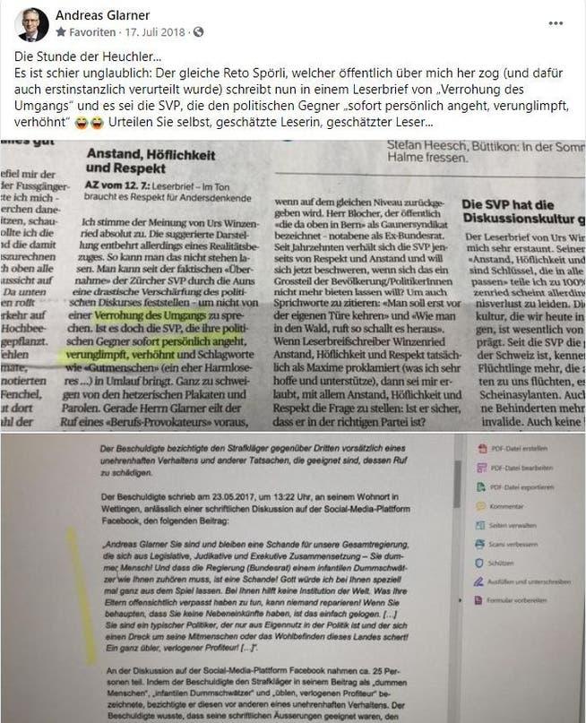 Wegen diesem Facebook-Post im Sommer 2018 wurde SVP-Nationalrat Andreas Glarner nun per Strafbefehl verurteilt.
