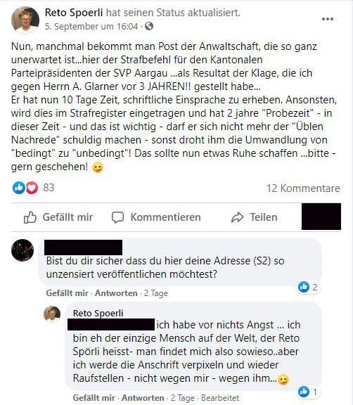 Reto Spörli hatte den nicht rechtskräftigen Strafbefehl gegen Andreas Glarner auf Facebook gepostet und später wieder gelöscht.