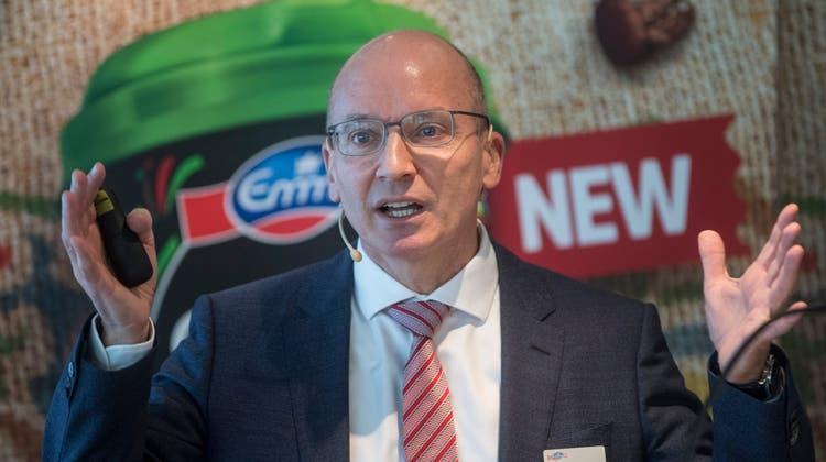 Der CEO von Emmi, Urs Riedener anlaesslich der Jahres-Bilanzmedienkonferenz des Milchverarbeiters Emmi vom Mittwoch, 5. Maerz 2018, in Luzern. (KEYSTONE/Urs Flueeler) (Urs Flueeler / KEYSTONE)